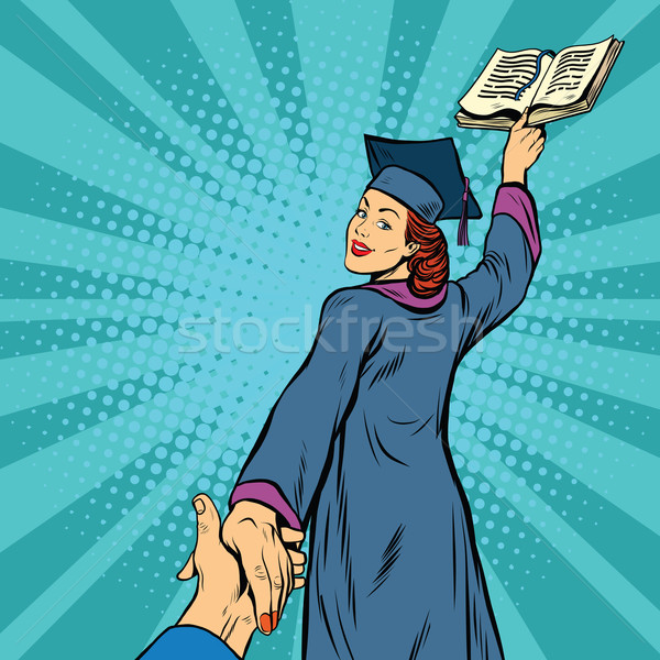 follow me, a woman student graduate knowledge education Stock photo © studiostoks