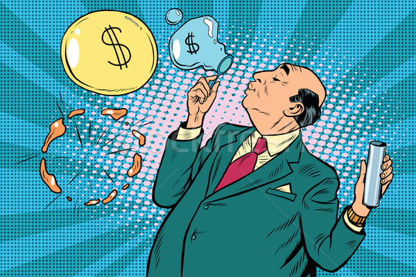 Businessman financier money inflates bubbles Stock photo © studiostoks