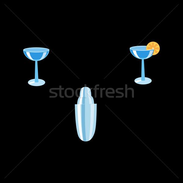 Csapos szett shaker koktélok koktél szemüveg Stock fotó © studiostoks