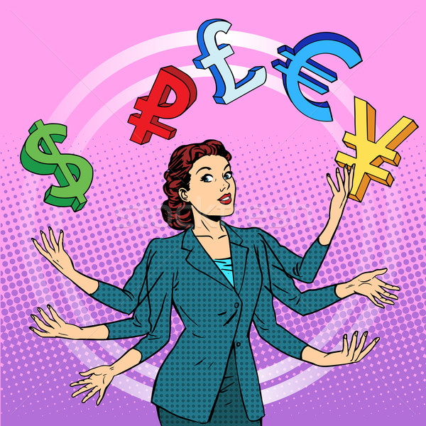 Empresária malabarismo dinheiro negócio financeiro sucesso Foto stock © studiostoks