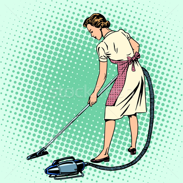 Woman vacuuming the room housewife housework comfort Stock photo © studiostoks