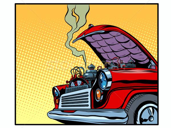 Kapotte auto Open motor rook pop art retro-stijl Stockfoto © studiostoks