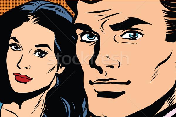 Güzel çift adam kadın pop art Retro Stok fotoğraf © studiostoks