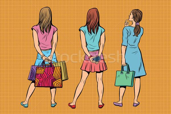 Piękna młoda kobieta sukienka spódnica powrót publiczności Zdjęcia stock © studiostoks