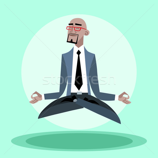 African businessman quiet hangs in the air like a yogi Stock photo © studiostoks