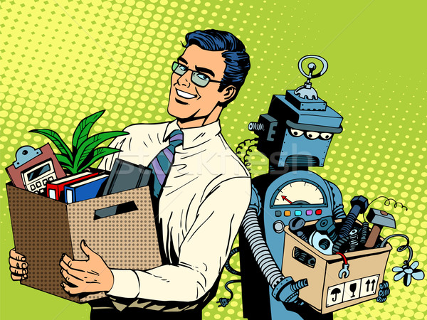 Man beats robot business concept knowledge and technology Stock photo © studiostoks