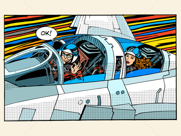 Luchador avión piloto hombre mujer éxito Foto stock © studiostoks