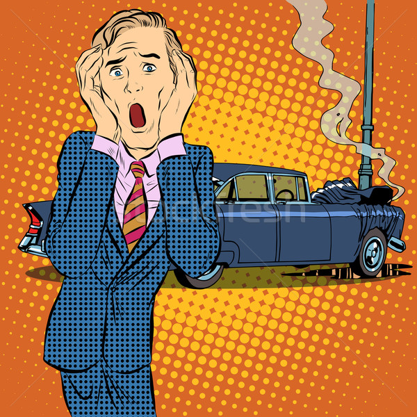 Voiture accident homme panique pop art style rétro Photo stock © studiostoks