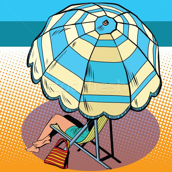 Ragazza ombrellone vacanze mare pop art stile retrò Foto d'archivio © studiostoks