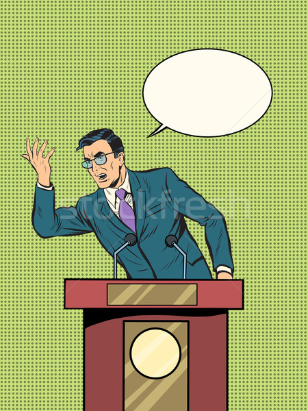 Politicus pop art retro-stijl retro man Stockfoto © studiostoks