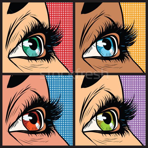 目 女性 多くの ポップアート レトロな ストックフォト © studiostoks