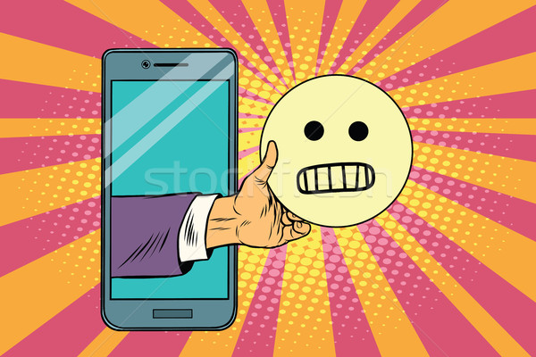 Kwaad glimlach smartphone pop art retro Stockfoto © studiostoks