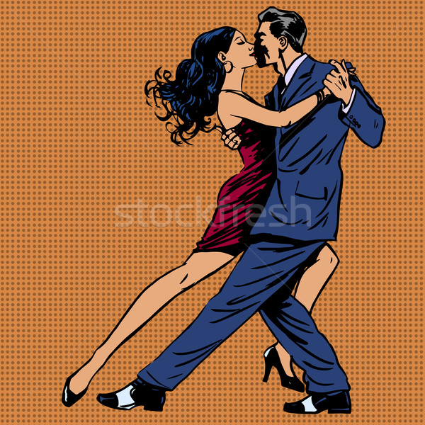 man and woman kiss dance tango pop art Stock photo © studiostoks