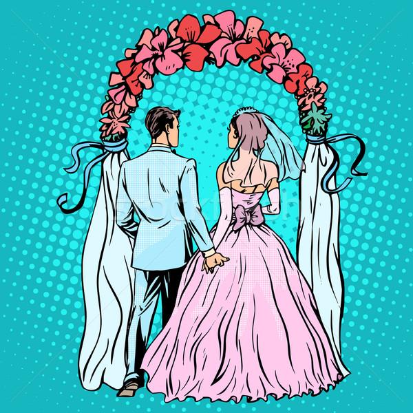 Bruiloft bruidegom bruid altaar pop art retro-stijl Stockfoto © studiostoks