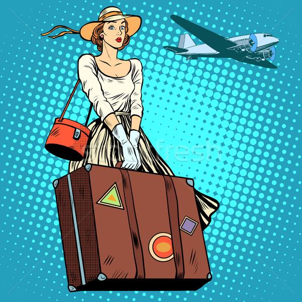 girl travel suitcase airport Stock photo © studiostoks
