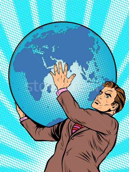 Zakenman atlas aarde schouders pop art retro-stijl Stockfoto © studiostoks