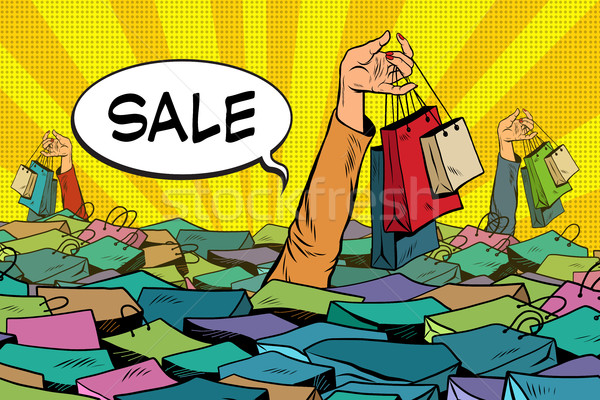sales, people drowning in the ocean of shopping Stock photo © studiostoks