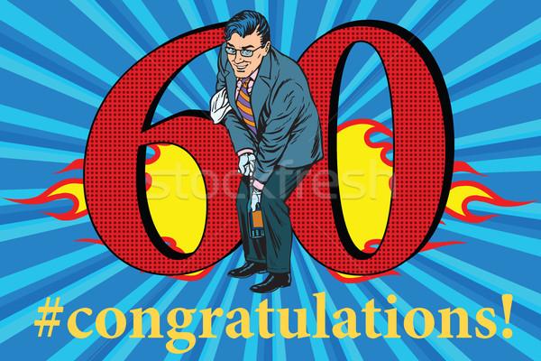 Gratulacje 60 rocznicy przypadku uroczystości szczęśliwy Zdjęcia stock © studiostoks