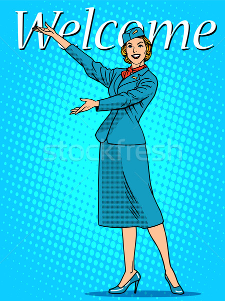 Welcome stewardess travel tourism Stock photo © studiostoks