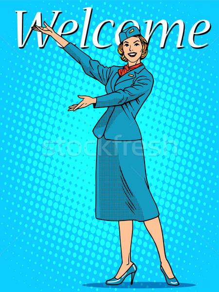 歓迎 スチュワーデス 旅行 観光 ポップアート レトロスタイル ストックフォト © studiostoks
