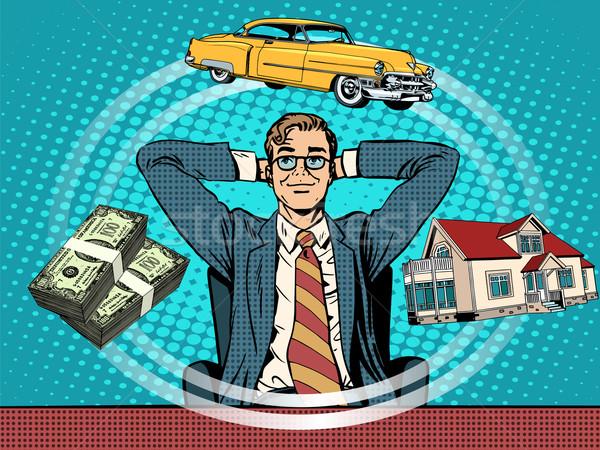 Człowiek sen domu ceny samochodu pop art Zdjęcia stock © studiostoks