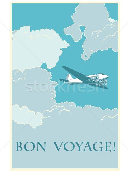 Retro airplane Bon voyage Stock photo © studiostoks