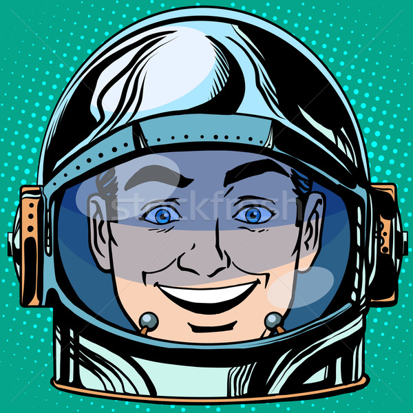 Emoticon vreugde lachen gezicht man astronaut Stockfoto © studiostoks