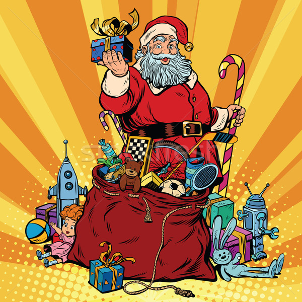 Santa Claus with bag of gifts. Christmas and New year Stock photo © studiostoks