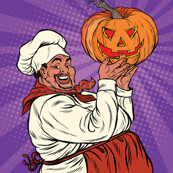 African American or Latino with a Halloween pumpkin Stock photo © studiostoks