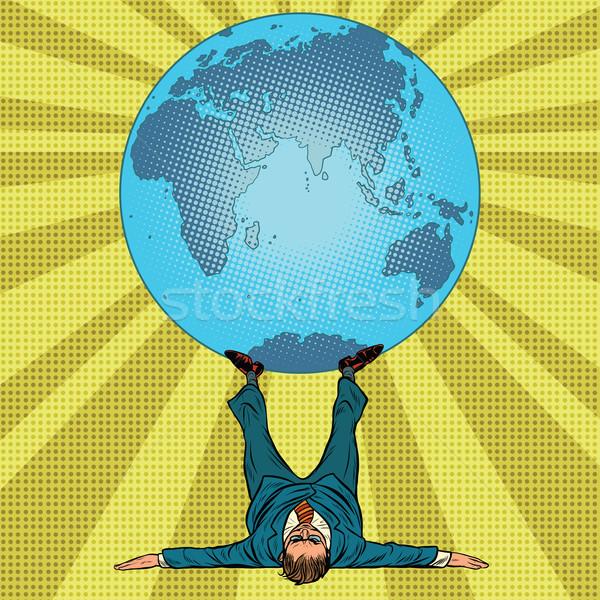 Internationalen Politik Mann Erde Pop-Art Retro Stock foto © studiostoks