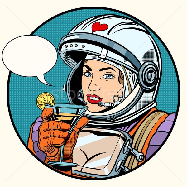 любви женщину космонавт коктейль Поп-арт ретро-стиле Сток-фото © studiostoks