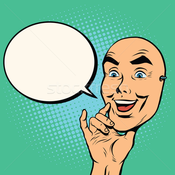 Máscara cara feliz manos hombre arte pop retro Foto stock © studiostoks