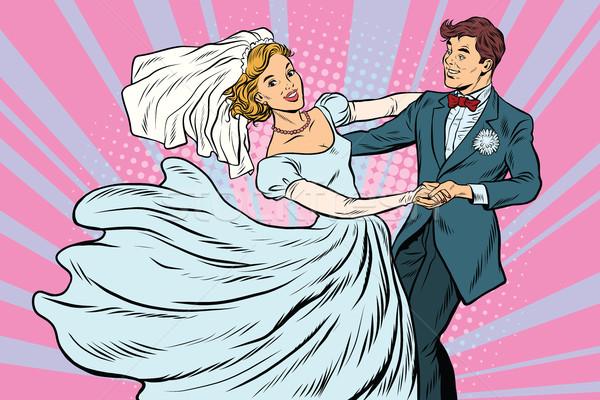 Esküvő tánc menyasszony vőlegény pop art retro Stock fotó © studiostoks