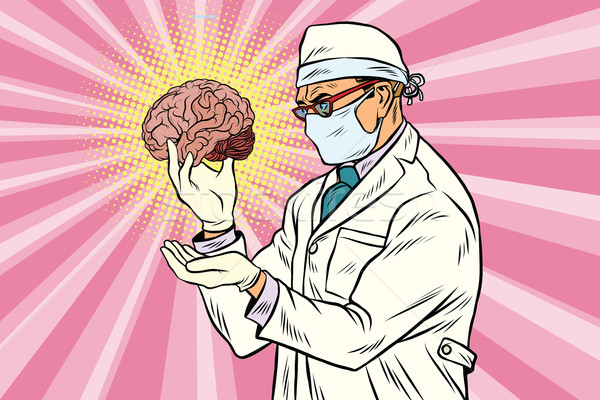 Surgeon doctor and the human brain Stock photo © studiostoks