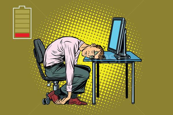 businessman sleeping at the computer Stock photo © studiostoks