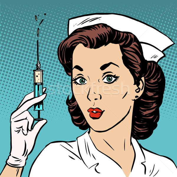Retro nurse gives an injection syringe medicine health Stock photo © studiostoks