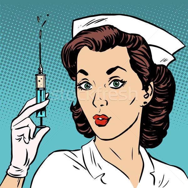 Retro verpleegkundige injectie spuit geneeskunde gezondheid Stockfoto © studiostoks