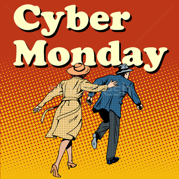 Cyber Monday shoppers run on sale Stock photo © studiostoks