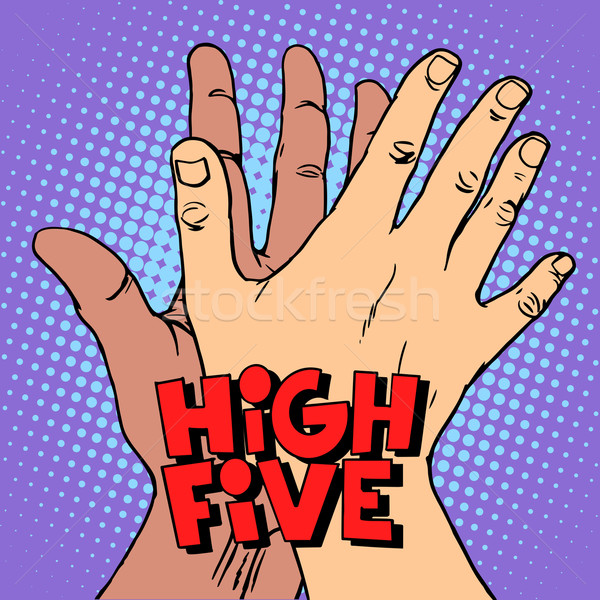 high five greeting white black hand Stock photo © studiostoks