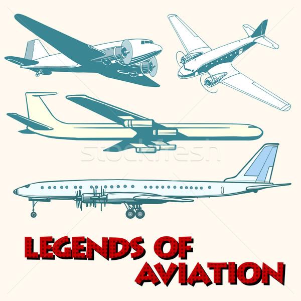 Set of abstract retro planes Stock photo © studiostoks