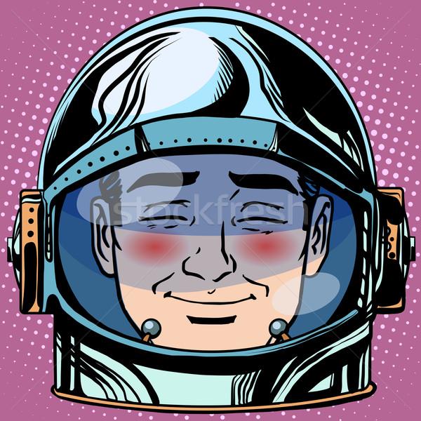 Emoticon vergüenza cara hombre astronauta retro Foto stock © studiostoks