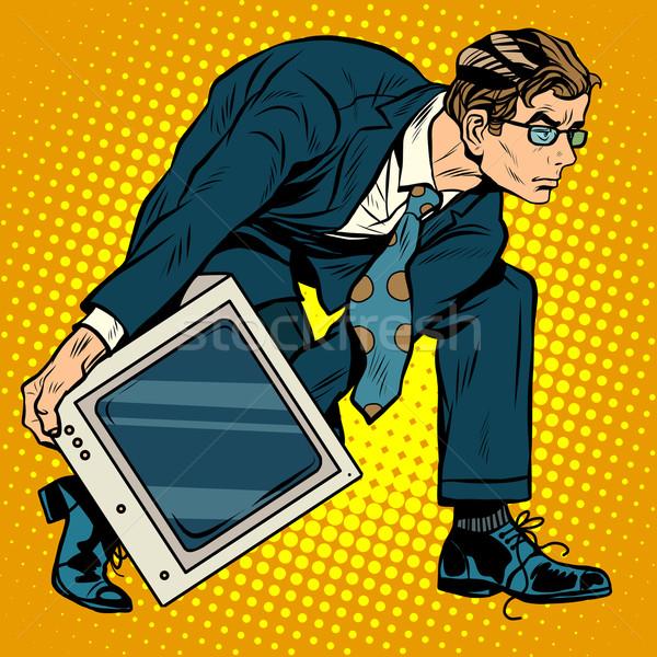 Ordinateur tech arme hommes pop art style rétro Photo stock © studiostoks