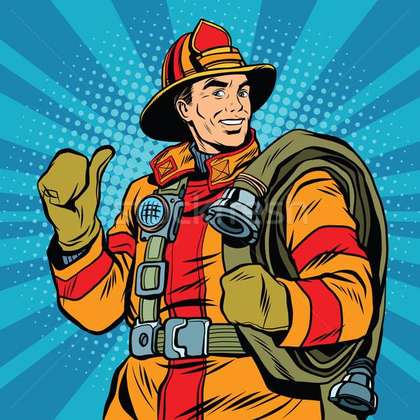 Rescue firefighter in safe helmet and uniform pop art Stock photo © studiostoks