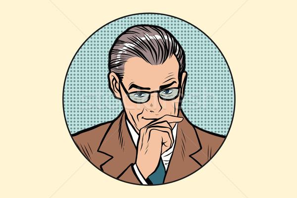 Myśliciel myślenia człowiek stanowią kółko pop art Zdjęcia stock © studiostoks