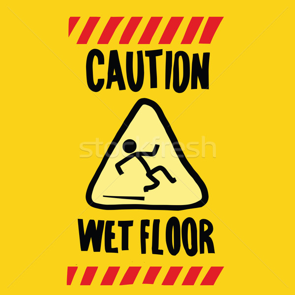 Precaución mojado piso arte pop retro carretera Foto stock © studiostoks