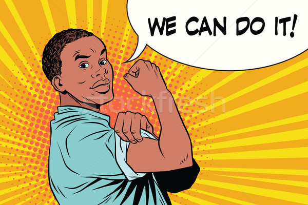 we can do it Protester black man African American Stock photo © studiostoks