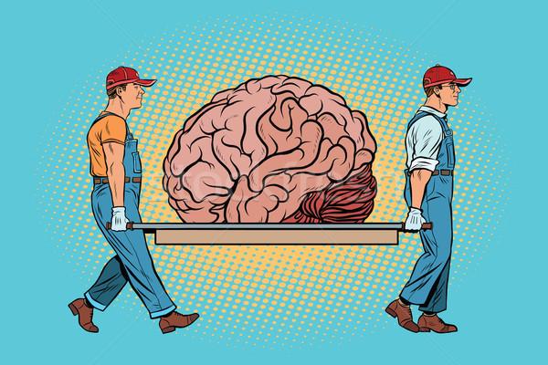 Cerebro tener reparación trabajadores arte pop Foto stock © studiostoks