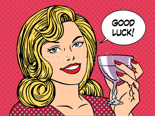 Beautiful woman toast glass wine good luck Stock photo © studiostoks