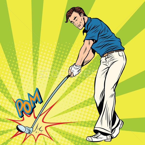 Foto stock: Jogador · de · golfe · vara · bola · estilo · retro · esportes