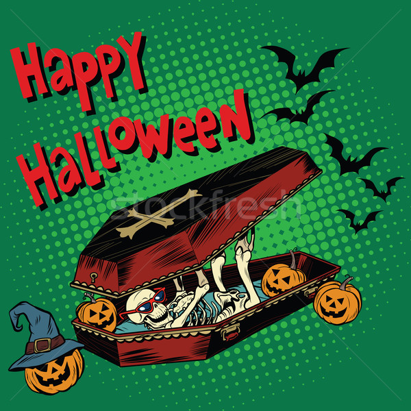 Happy Halloween holiday, coffin skeleton evil pumpkin Stock photo © studiostoks